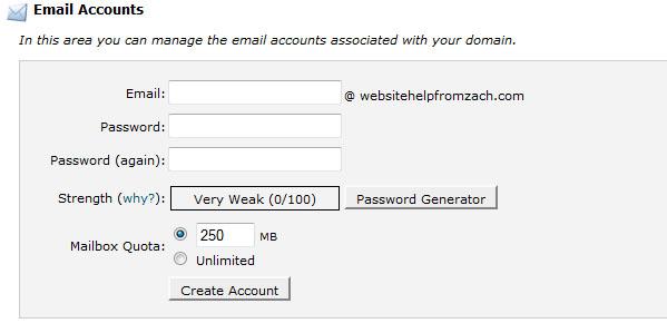 website help - cPanel e-mail address creation screen