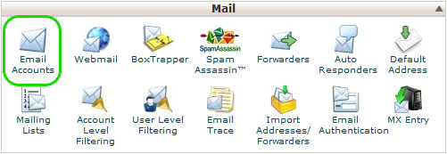 website help - cPanel e-mail options