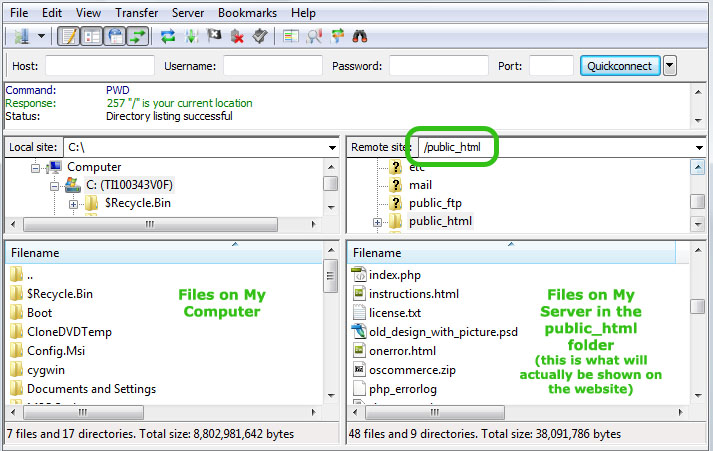 File Zilla view when logged in to the public_html folder on your server