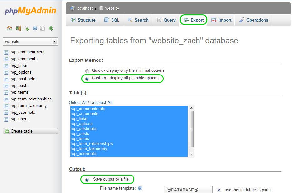 PHPMyAdmin backup export of WordPress database