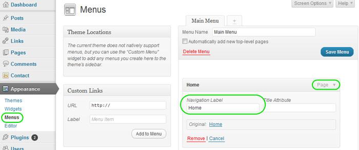 Wordpress Menu Links Admin